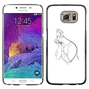 Colorful Printed Hard Protective Back Case Cover Shell Skin for Samsung Galaxy S6 / SM-G920 / SM-G920A / SM-G920T / SM-G920F / SM-G920I ( Man Drawing Pencil Thinking Art Lonely )