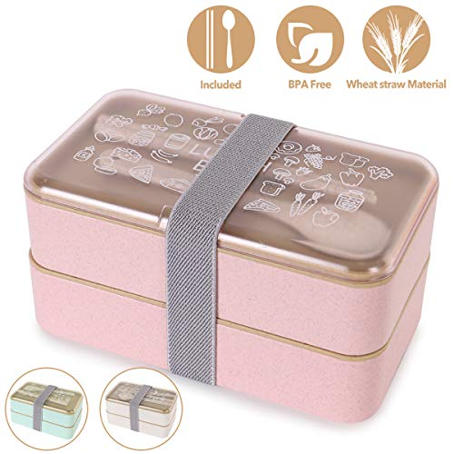 Buringer Lunch Bento Box Food Storage 2 Square Containers for Adults School Work Wheat Grass BPA Free Leak Proof with Chopsticks and Spoon (Long Pink)