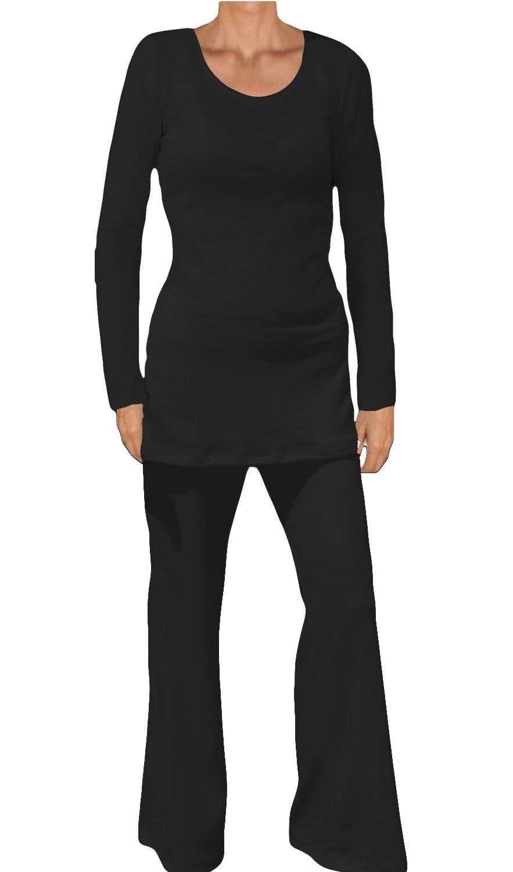 Ooh la la Knit Long Sleeve Tunic and Elastic Waist Pants Set (XX-Large 40-41, Black)
