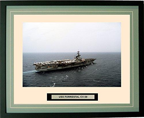 - Navy Emporium - USS Forrestal CV-59 - Framed - Photo - Engraved Ship Name - Double Mat - Photograph - 16 X 20 - 83CV59Green