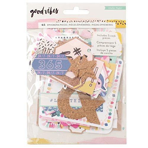 Crate Paper 45 Piece Ephemera Good Vibes Embellishments
