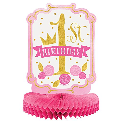 Pink and Gold Girls 1st Birthday Centerpiece Decoration - Birthday Table Centerpieces