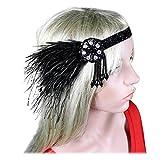 Women 20s 30s Party Prom Vintage 1920s Gatsby Black Feather Headpiece Headbands Flapper Crystal Headdress Halloween