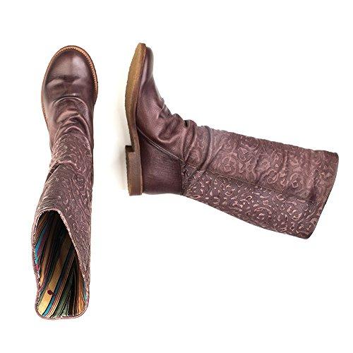 Felmini - Zapatos para Mujer - Enamorarse com Clash 8655 - Botas Altas Classic - Cuero Genuino - Marrón - 0 EU Size Marrón