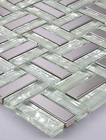 1/alfombrilla mosaico azulejos mosaico cristal Acero Inoxidable Blanco Plata 15/x 15/cm 8/mm Nuevo