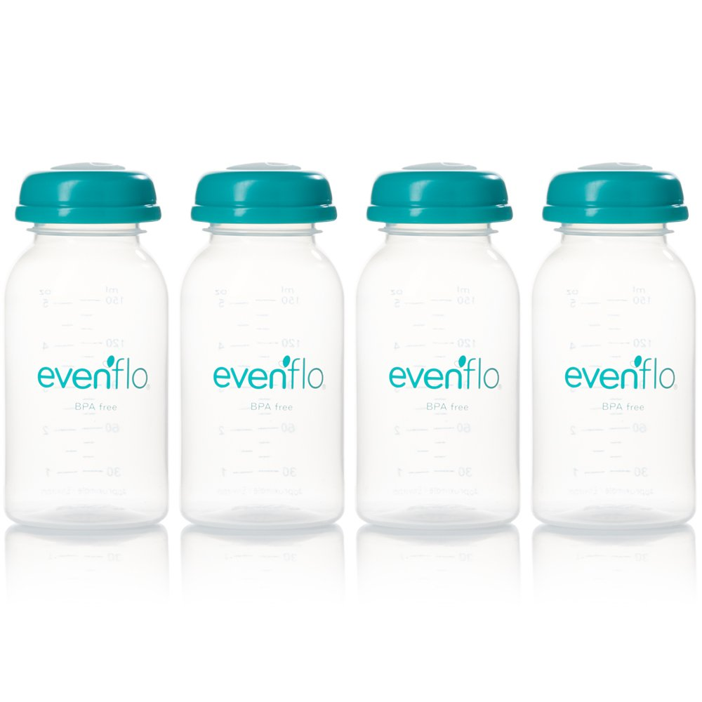 Evenflo 1284521 SimplyMilk Breast Milk Storage Bottles, 5-Ounce, 4-Pack 1284611