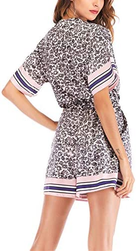 duderer Womens Casual Rompers Wrap V Neck Short Sleeve Elastic Waist Short Leopard Print Jumpsuits Romper