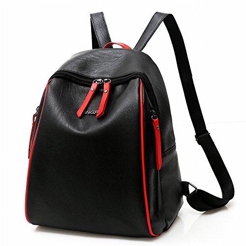 Mode Sport Frauen Rucksack Naht Reine Farbe Weiche Oberfläche Pu Schwarz Trendige Mädchen Einfache Trompete , schwarz