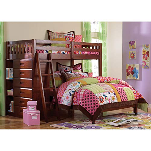 American Furniture Classics Loft Bed Twin Over Full with Six-Drawer Chest Plus Matching Desk, Hutch, and Chair