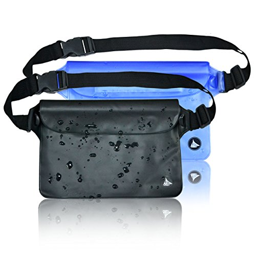 Aquamare Waterproof Pouch Dry Bag Case with Waist/Shoulder Strap Fanny Pack (2 Pack) - Blue and Black Color