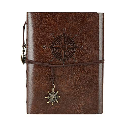 DIY Scrapbook Photo Album Leather Memory Book 60 Pages for Baby Anniversary Birthday Wedding Party Travel Graduation Self-adhesive Picture (Small, Coffee Compass) -