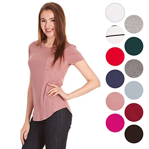 Plus T-shirt Heavyweight Size - X America Crew Neck Short Sleeve Junior and Plus Size T Shirts for Women w/Pocket, Made in USA Mauve