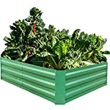 Metal Raised Garden Bed Large Planter Box for Vegetables Flower Plant Stand Corner Indoor Outdoor Patio, Green, 5 x 3 x 1ft