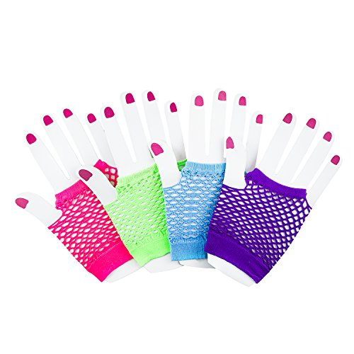 Fingerless Fishnet Neon Gloves for Parties, Costumes (12pk) -
