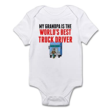 df60d24a CafePress My Grandpa is The Worlds Best Truck Driver Body Su Cute Infant  Bodysuit Baby Romper
