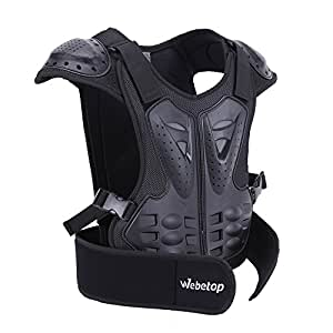"Webetop Kids Dirt Bike Body Chest Spine Protector Armor Vest Protective Gear for Dirtbike Bike Motocross Skiing Snowboarding Black(S for height 39""-45"")"