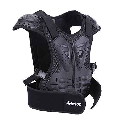 Webetop Kids Dirt Bike Body Chest Spine Protector Armor Vest Protective Gear for Dirtbike Bike Motocross Skiing Snowboarding Black(L for height - Armor Chest Body
