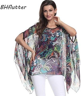 ASGHILL Boho Mujer Tops y Manga de murciélago Blusa Camisa Blusas Verano Estampado Floral Camisas de Gasa Estilo Kimono, Rojo, 6XL: Amazon.es: Deportes y aire libre