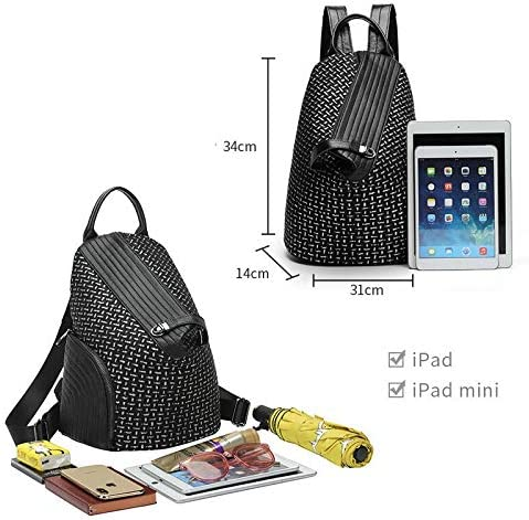 EHEH Ladies fashion backpack, ladies work backpack can be used for business daily work appointment travel vacation vacation gym hiking backpack (Color : Rivet black) Black Diamond