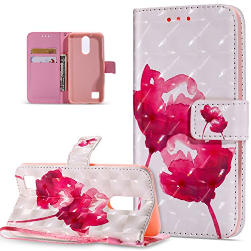 LG K20 V Case,LG K20 Plus Case,LG Harmony Case,LG V5 Case,LG K10 2017 Case,ikasus 3D Colorful Painted Butterfly Pattern Flip Folio Wallet Case PU Leather Stand Protective Case Cover,Pink Lotus