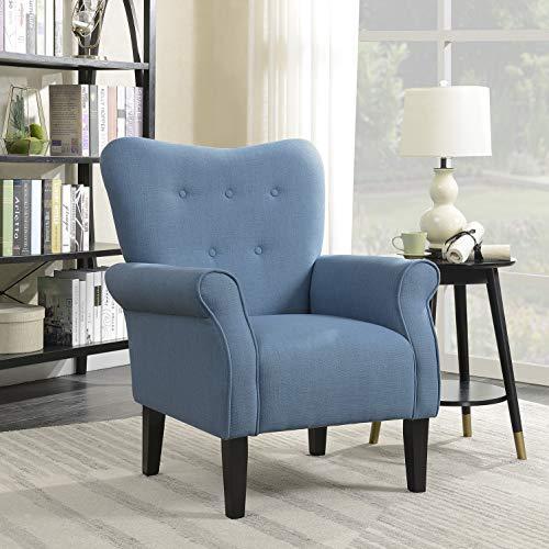 Belleze Modern Accent Chair Roll Arm Linen Living Room Bedroom Wood Leg, Blue
