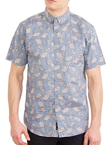 (Visive Mens Hawaiian Shirt Short Sleeve Button Down Shirts-Rev-Pine-XL)