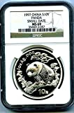 1997 China 1 OZ Silver Panda SMALL DATE 10 YN .999 Fine S10Y Chinese MS69 NGC