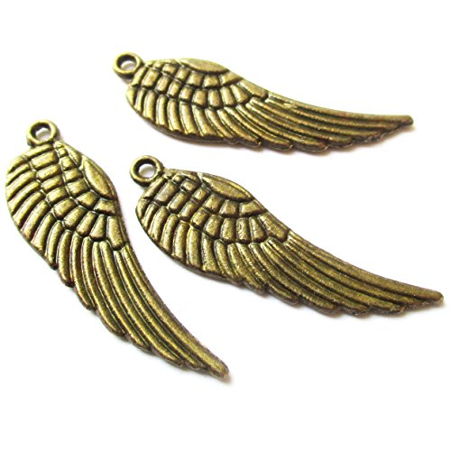 Heather's cf 62 Pieces Brass Tone Small Wing Beads DIY Charms Pendants (Wings Charm Bead)