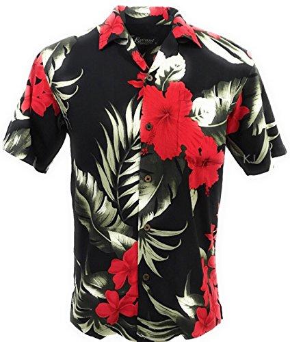 Tropical Luau Beach Floral Print Men's Hawaiian Aloha Shirt (Medium, Black/Red) (Shirts Red Flower)