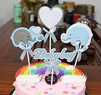 Amazon Com Purearte Cute Baby Shower Cake Topper For Baby Boy Party
