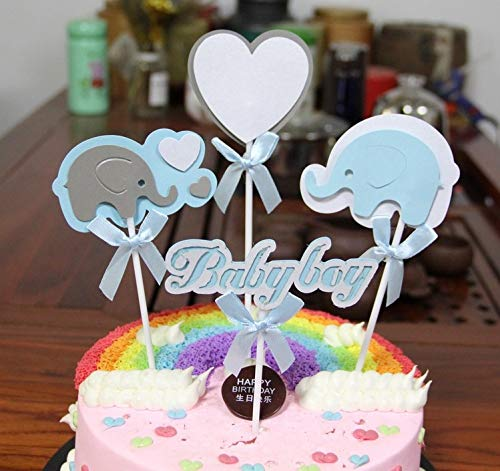 PureArte Cute Baby Shower Cake Topper For Baby Boy Party Favors Decoration Blue White Elephant and Heart with Bow