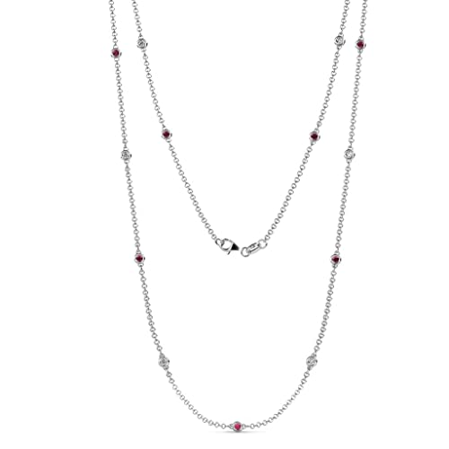 aa89d02316056 TriJewels Ruby and Diamond by the Yard 13 Stations Necklace 0.60 ctw 14K  White Gold.18 Inches in Length