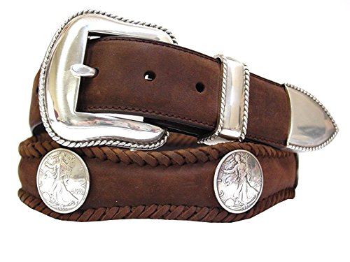 Hagora Men Laced Oil-Tanned Scalloped Leather Silver Coin Conchos & Buckle Belt,Brown 54