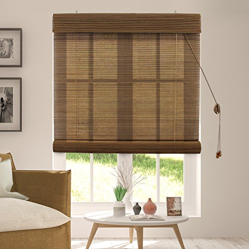 Chicology Bamboo Roll Up Blinds / Wood Window Blind, Bamboo, Privacy - Acorn, 29