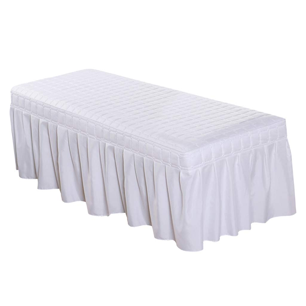 B Blesiya Standard Massage Table Skirt Beauty Face Facial Bed Cover Linen Valance Sheet for Most Cosmetic Beds - White-180x60cm