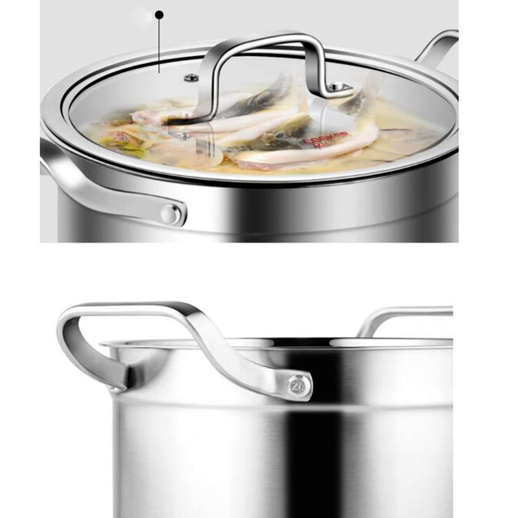 Woks Ollas para Pasta Olla de Sopa Olla de Sopa de Acero Inoxidable Olla de Sopa de Fondo Grueso Olla de Cocina Olla de estofado de Avena casera Olla de ...