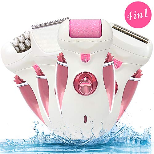 Electric Hair Removal Epilator, 4 in 1 Professional Women Rechargeable Cordless Razor Foil Tweezer Care Device Trimmer Tool Hair Shaving Remover for Bikini Line Leg Armpit(Pink)
