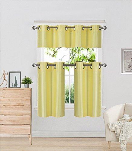 Elegant Home Collection 3 Piece Solid Color Faux Silk Grommet Blackout Kitchen Window Curtain Set with Tiers and Valance Solid Color Lined Thermal Blackout Drape Window Treatment # k9 (Valance Silk Curtain)