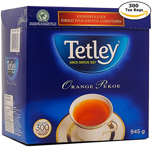 Tetley Tea, Orange Pekoe, Food Service Size 300-Count 945g Tea Bags