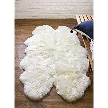 genuine australian sheepskin rug four pelt ivory fur quarto