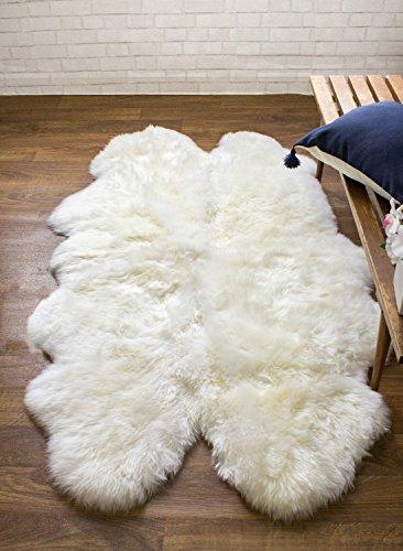 Super Area Rugs, Genuine Australian Thick Sheepskin Rug Four Pelt Ivory Natural Fur, Quarto (Genuine Sheepskin Rug)