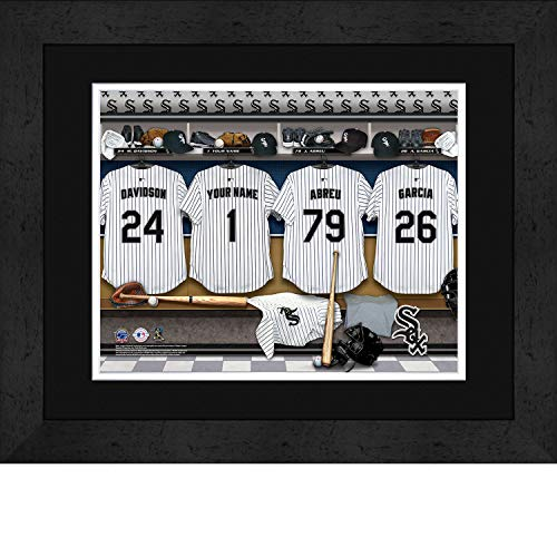 Chicago White Sox Personalized MLB Baseball Locker Room Jersey Framed Print 14x18 Inches