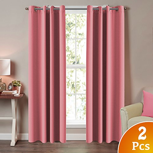 "Turquoize Solid Blackout Drapes, Strawberry Pink, Themal Insulated, Grommet/Eyelet Top, Nursery/Girls Room Curtains Each Panel 52"" W x 84"" L"