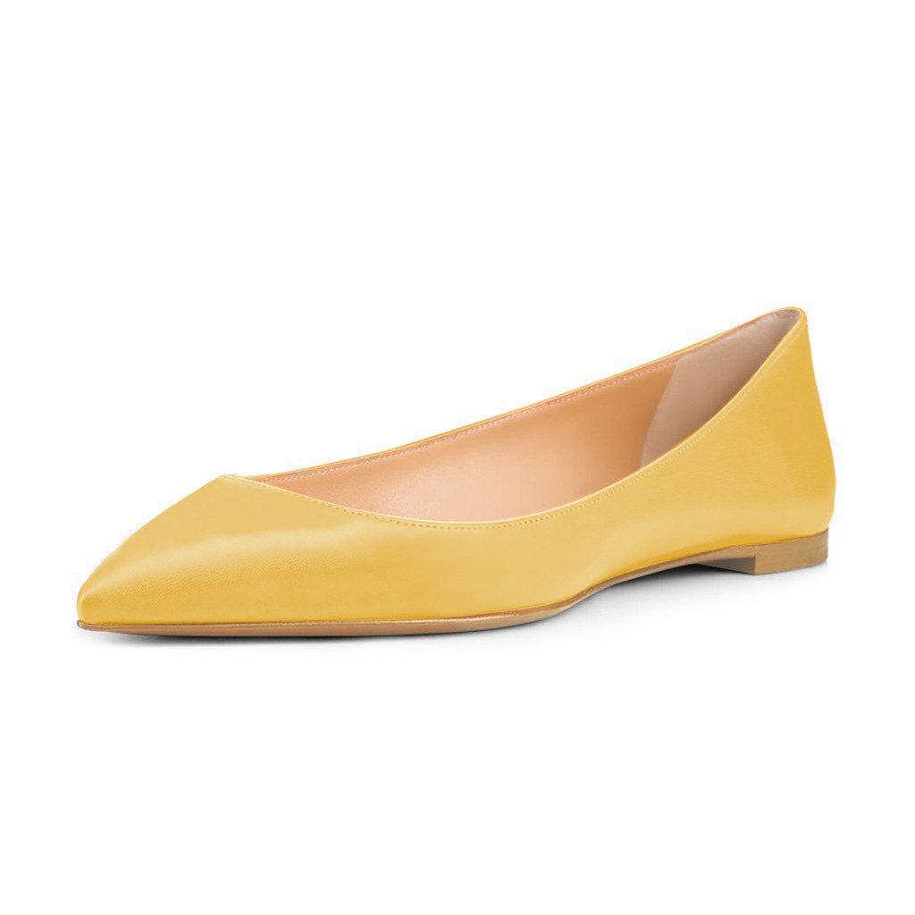 FSJ Women Fresh Floral Printed Flats Pumps Pointed Toe Slip On Dress Shoes for Comfort 4-15 US B075F2FWY6 10 B(M) US|Yellow