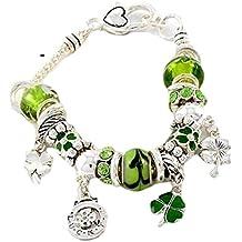 Shamrock Charm Bracelet Z1 Green Murano Glass Beads Crystal