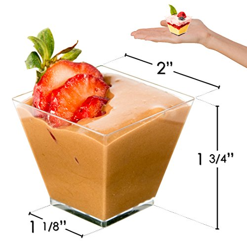 DLux 100 x 2 oz Mini Dessert Cups with Spoons, Square Short - Clear Plastic Parfait Appetizer Cup - Small Disposable Reusable Serving Bowl for Tasting Party Desserts Appetizers - With Recipe Ebook by DLux (Image #2)
