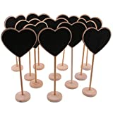 Mini Chalkboard Signs with Stand, Dedoot Pack of 12 Wood Rectangle Message Board Signs for Wedding Party Table Numbers, Cards, Food Name Card Home Decoration