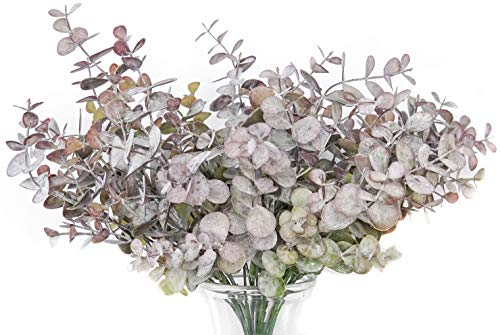 GreenCallow Artificial Farmhouse Eucalyptus (Pack of 3),Artificial Farmhouse Greenery Stems Fake Plants Foliage for Farmhouse,Home,Garden,Office,Patio,Wedding and Indoor Outdoor Decoration(Purple)
