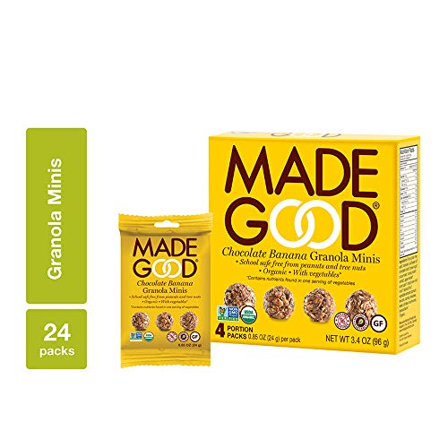 MadeGood Chocolate Banana Granola Minis, 6 Boxes (24 count); Wholesome and Delicious Bite-Sized Snacks; Organic and Made with Allergy Friendly Ingredients; Ideal for School Safe Lunches and Snacks (Desserts Sized Bite)