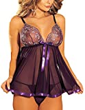 IWISHME Women Plus Size Sequin Sexy Babydoll Lingeries
